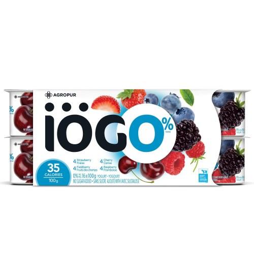 Yogourt 0% 16×100 g iogo saveur melanger